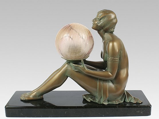 20th Century Decorative Arts:  art deco spelter lady lamp figure