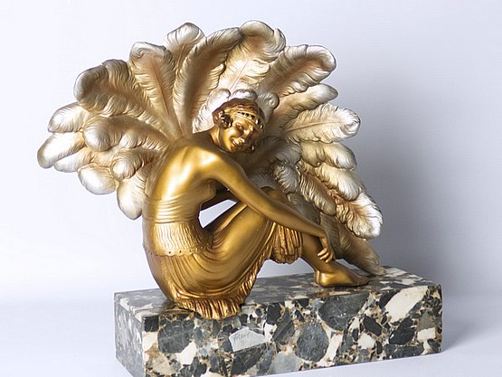 20th Century Decorative Arts: art deco spelter sculpture