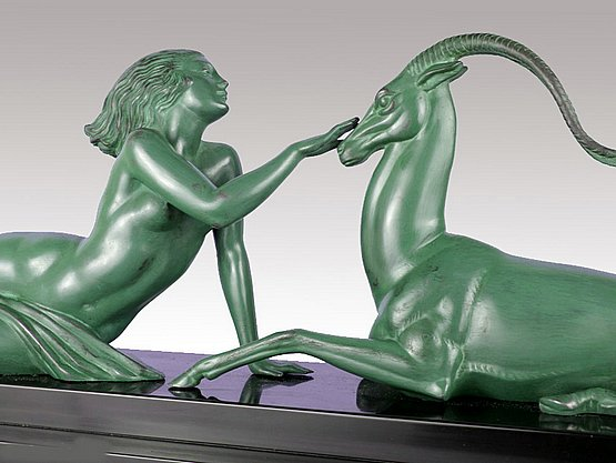 20th Century Decorative Arts: fayral art deco metal sculpture Pierre Le Faguays