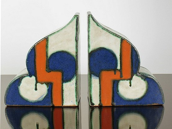 20th Century Decorative Arts: goldscheider art deco bookends