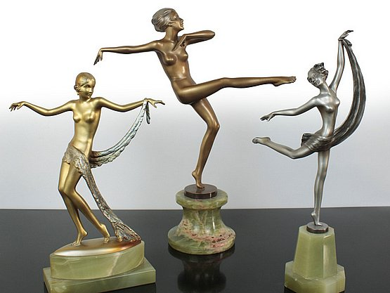 20th Century Decorative Arts: josef lorenzl art deco bronzes for sale
