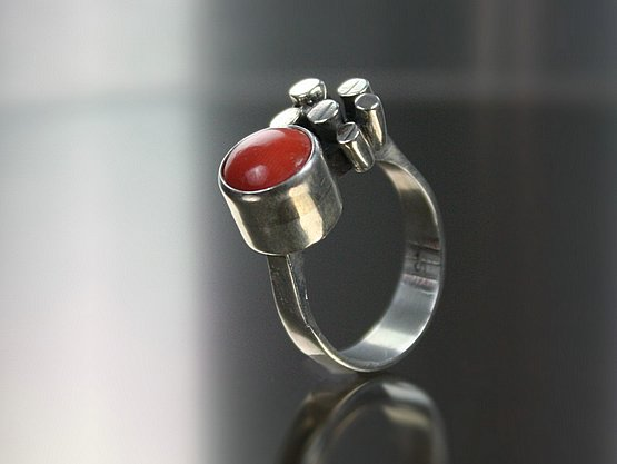 20th Century Decorative Arts: modernist silver and coral ring
