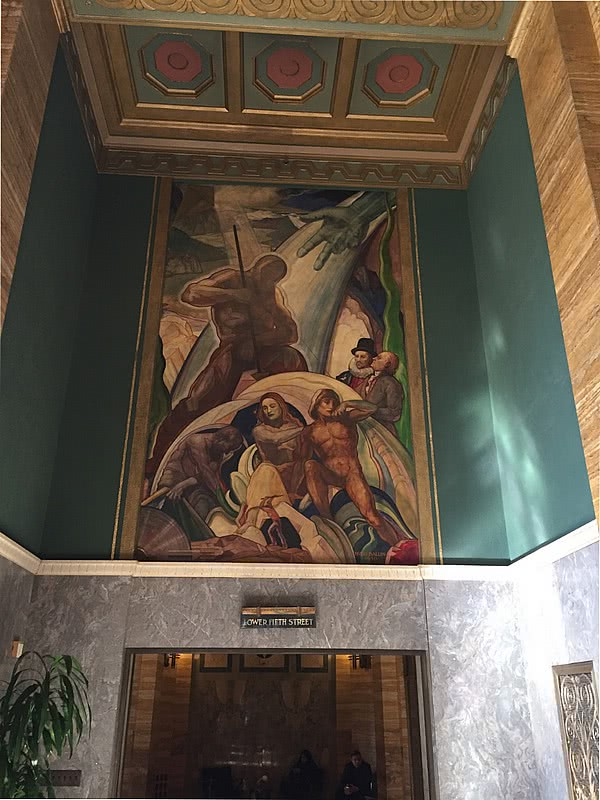The Apotheosis of Power Hugo Ballin, 1930. Lobby of 601 West Fifth Street (one Bunker Hill building)