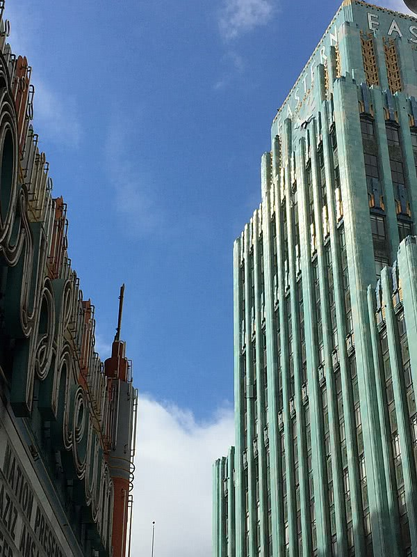 Down Town Los Angeles Art Deco Eastern Columbia Building and the Orpheum Theatre