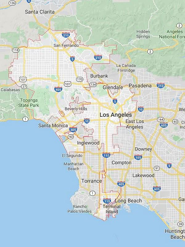 Los Angeles on a map
