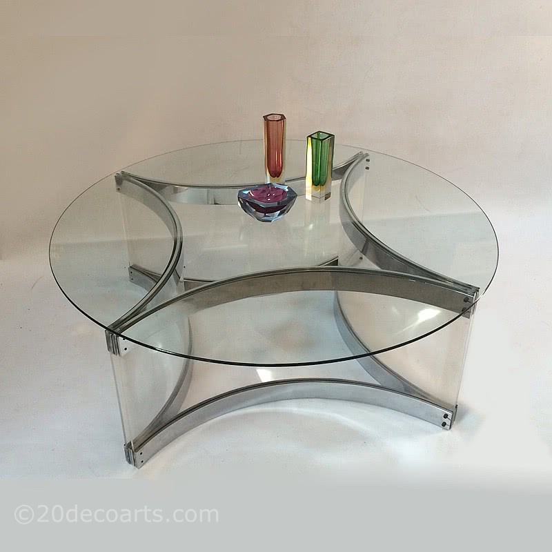 20th Century Decorative Arts |Alessandro Albrizzi, Italy, c1970 A Lucite, Chromed Steel and Glass Coffee Table.