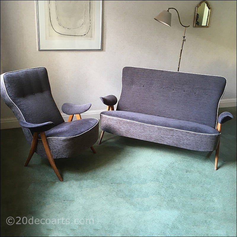 Artifort Hairpin Armchair and Two Seater Sofa (Model 105) Designed by Theo Ruth c1954
