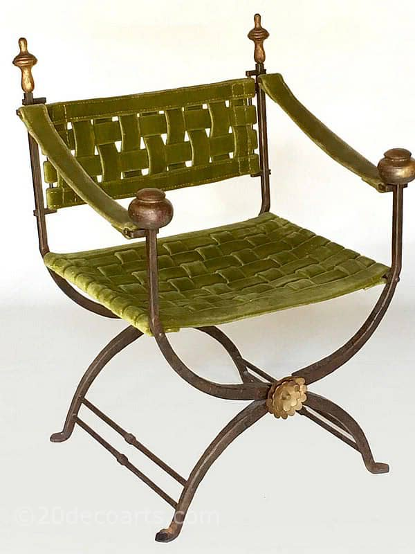 20th Century Decorative Arts |Savonarola ( Curule ) chair - A wonderful 1920's / 30's example with a wrought iron X-frame