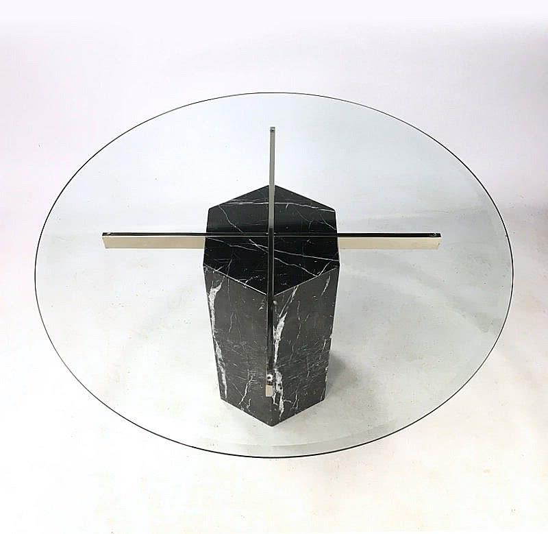 "Black Marble ""Nero Marquina"" dining table with a round crystal glass top by Artedi, c1980's"