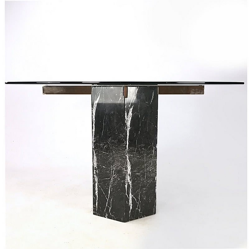 "Artedi, c1980's Black Marble ""Nero Marquina"" dining table with a round crystal glass top"