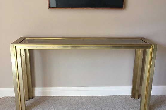 ☑️ Italian Brass Console Table, stepped square section brass frame