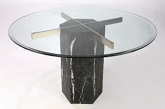 ☑️ 20th Century Decorative Arts |Black Marble dining table mid-century modern Artedi, c1980's