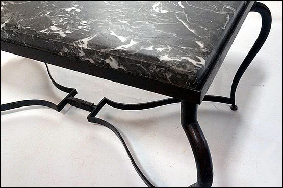 ☑️ 20th Century Decorative Arts | 'Fer Forge' Coffee Table with Marble Top c1930's  Michel Zadounaisky.