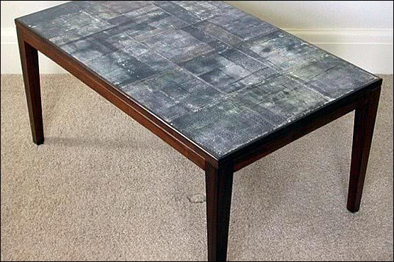 ☑️ 20th Century Decorative Arts |Unique mid 20th century rosewood coffee table  with abstract tile top