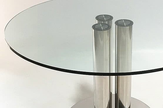 ☑️ 20th Century Decorative Arts |Marco Zanuso for Zanotta Stainless steel and plate glass circular Marcuso dining table