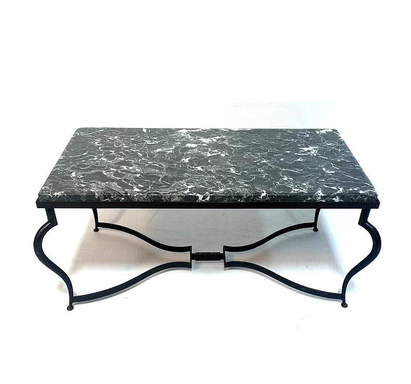 20th Century Decorative Arts |Rene Prou - Attributed 'Fer Forge' Coffee Table with Marble Top, c1930's