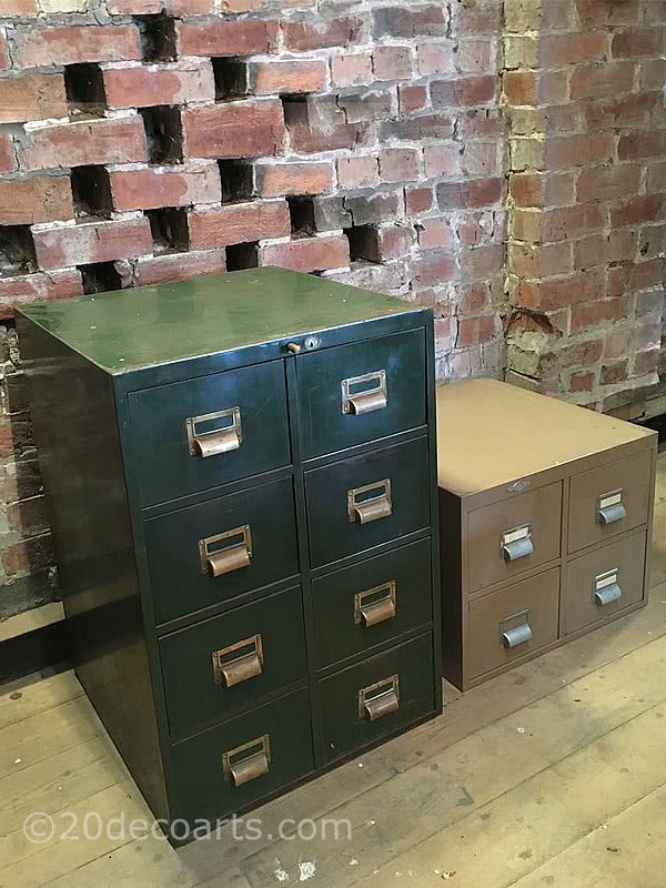 20th Century Decorative Arts |Vintage Roneo 8 drawer metal index card filing cabinet, finished in green with brass pull handles. Vintage Art Metal 4 drawer index card filing cabinet, finished in taupe with aluminium pull handles.