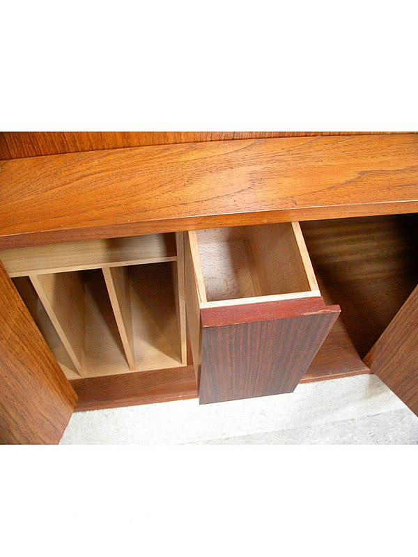 20th Century Decorative Arts |Robert Ingham Wall Unit / Bureau Made from solid teak, the doors fronted with rosewood, fitted interior in sycamore with rosewood fronted drawers circa 1969.