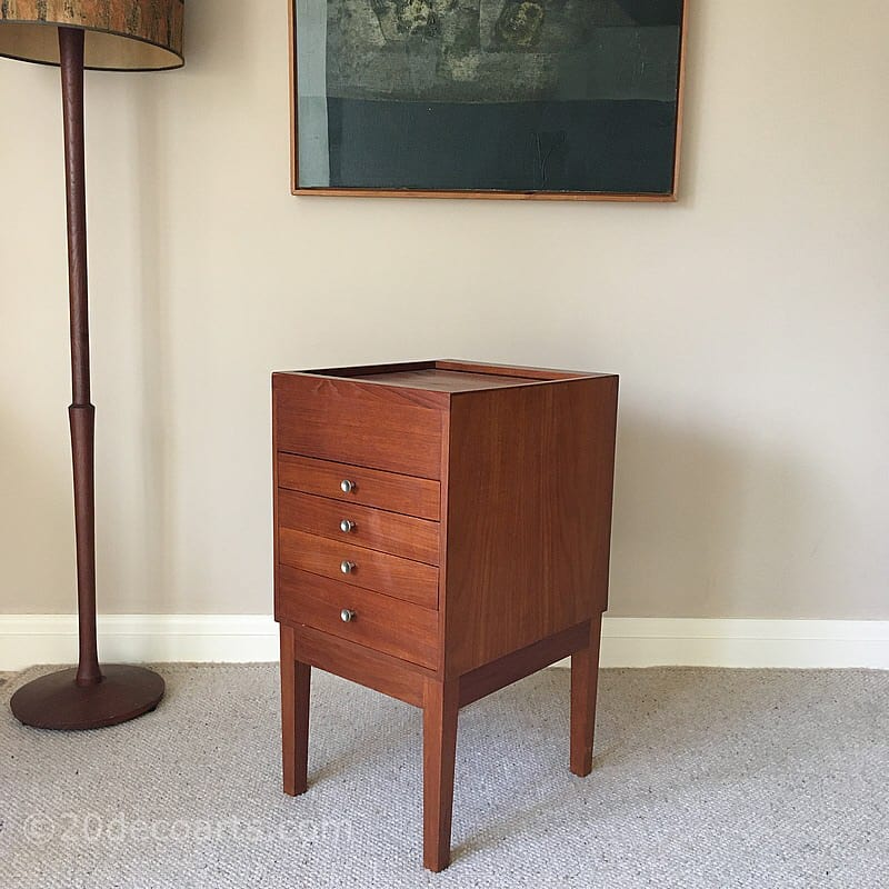 A Mid-Century Teak Tambour Door Topped Sewing / Work Chest c1960's