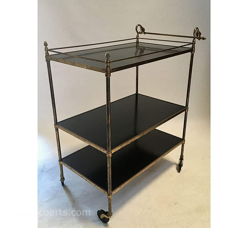 20th Century Decorative Arts |vintage brass framed 3 tier trolley with black laminated wooden shelves and swan handle c1950's