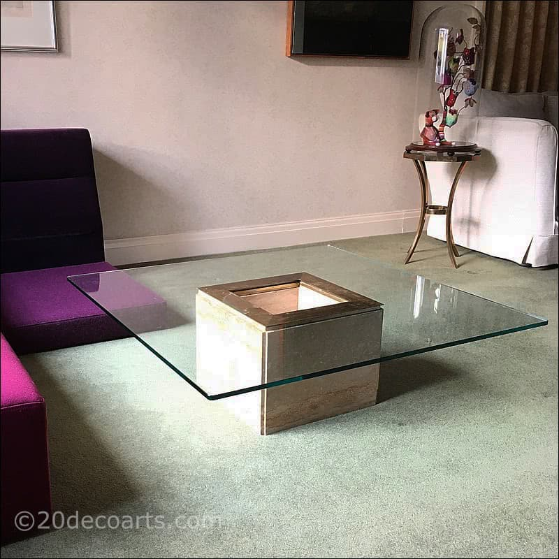 Travertine marble and glass coffee / cocktail table  1970s