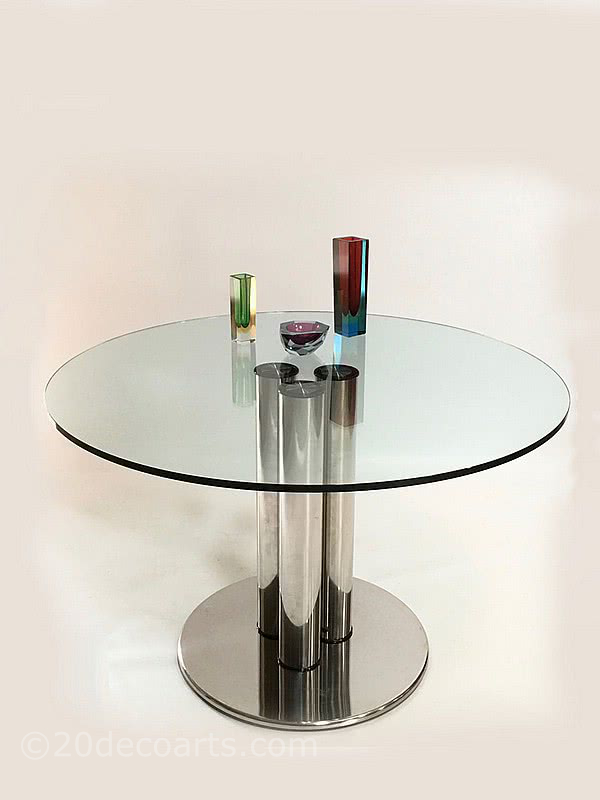 Marco Zanuso for Zanotta Stainless steel and plate glass circular Marcuso dining table. Designed c1970