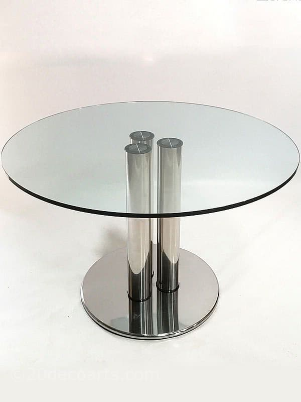 20th Century Decorative Arts |Marco Zanuso for Zanotta Stainless steel and plate glass circular Marcuso dining table. Designed c1970