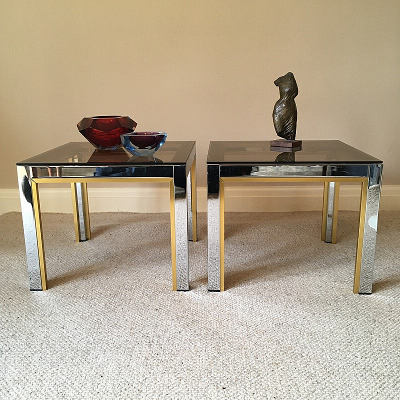Pair of Side tables by Renato Zevi, Italy 1970s,