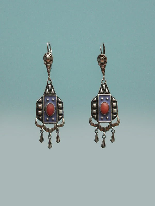 A pair of art deco 830 silver, coral and matt enamel earrings, Germany circa 1920s