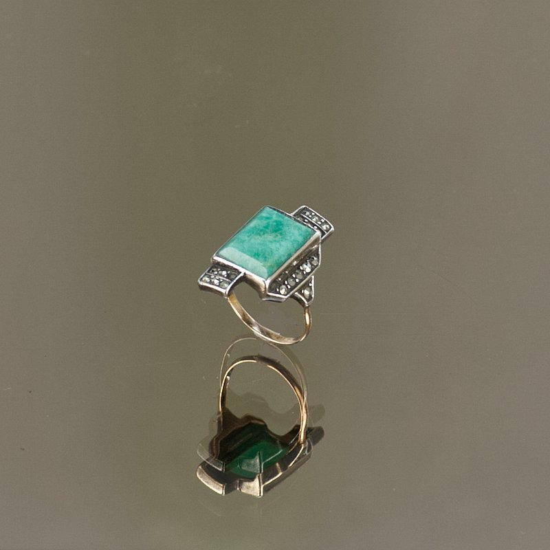 Art Deco silver, gold. amazonite and marcasite ring, circa 1925.