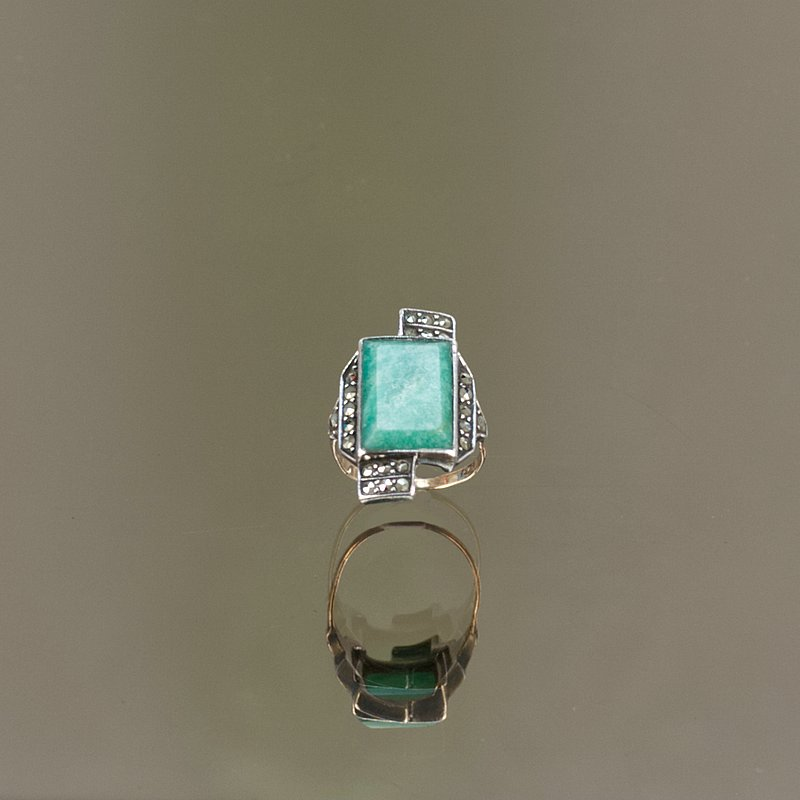 Art Deco silver, gold. amazonite and marcasite ring, circa 1925..
