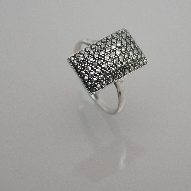 "20th Century Decorative Arts |An Art Deco 925 silver and marcasite ""cushion"" ring  Germany, circa 1930."