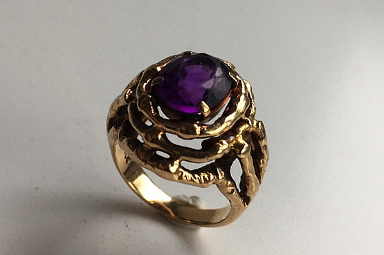 ☑️ 1970s gold amethyst ring