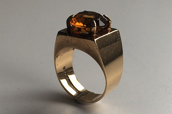 ☑️ 1970s gold citrine ring