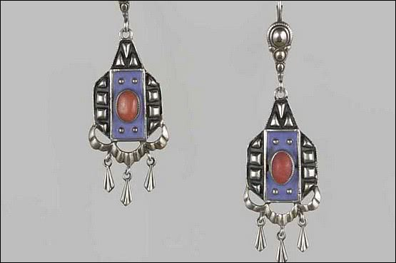 ☑️ 20th Century Decorative Arts |Theodor Fahrner Jewellery art deco silver earrings