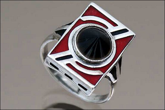 ☑️ 20th Century Decorative Arts |Theodor Fahrner - Art Deco Silver Ring 1930