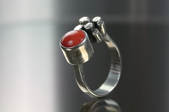 ☑️ 20th Century Decorative Arts |silver and coral modernist ring