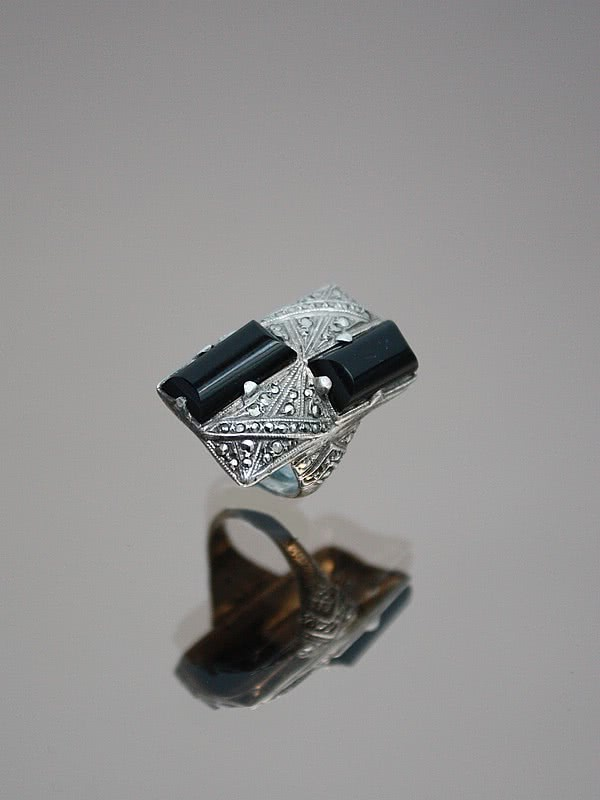 An Art Deco sterling silver, marcasite and onyx ring Germany circa 1920s.