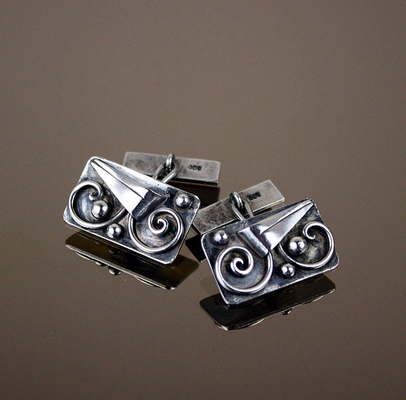 20th Century Decorative Arts |1920s Art Deco silver cufflinks,   Germany
