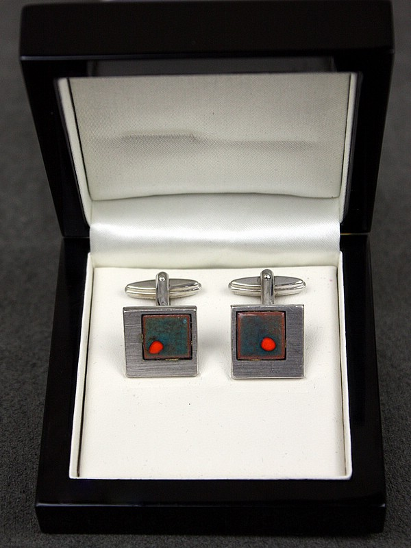 20th Century Decorative Arts |1960s modernist brushed silver  and enamel cufflinks,   Germany