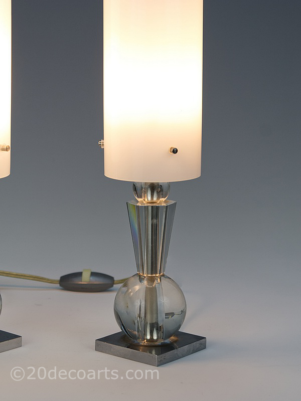 art deco modernist bronze crystal lamps pair