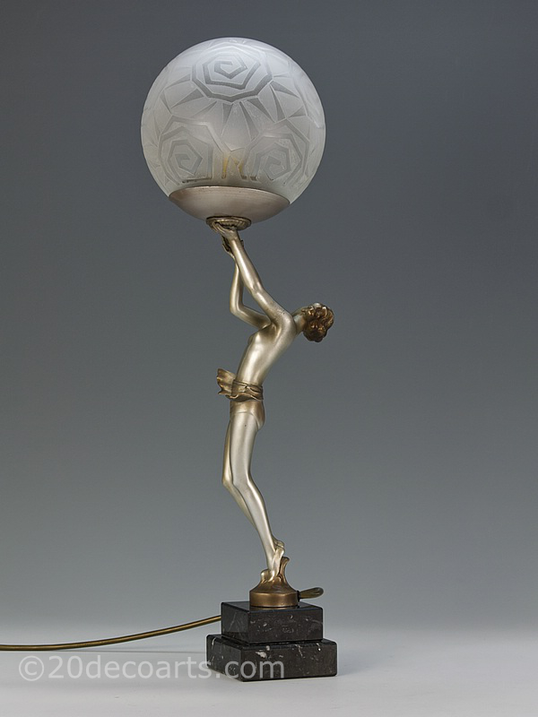 art deco lady lamp original spelter table lamp | 20th Century Decorative Arts