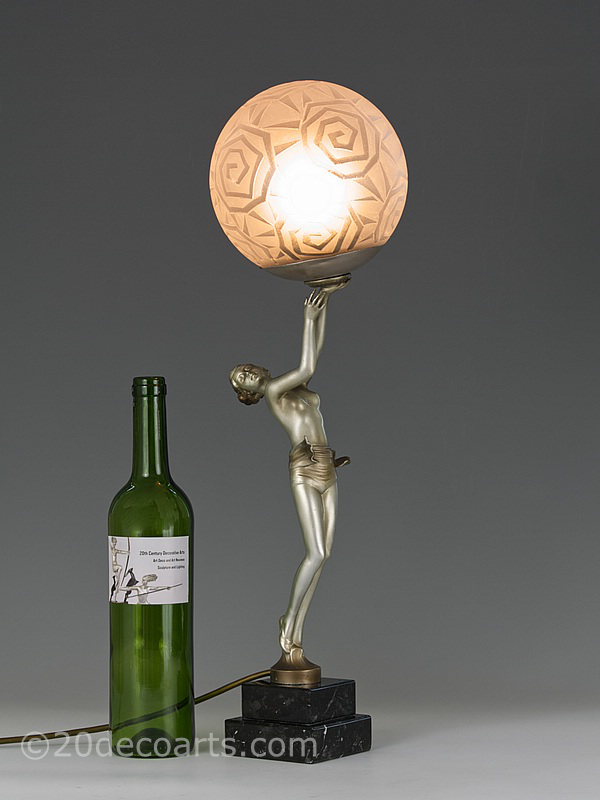 art deco lady lamp  spelter table lamp | 20th Century Decorative Arts