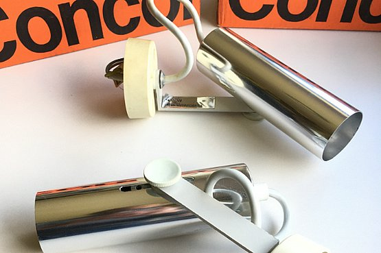 ☑️ John & Sylvia Reid for Concord Lighting c1960's, a pair of adjustable spotlights that can be used as wall lights or ceiling lights.  Designed for Rotaflex