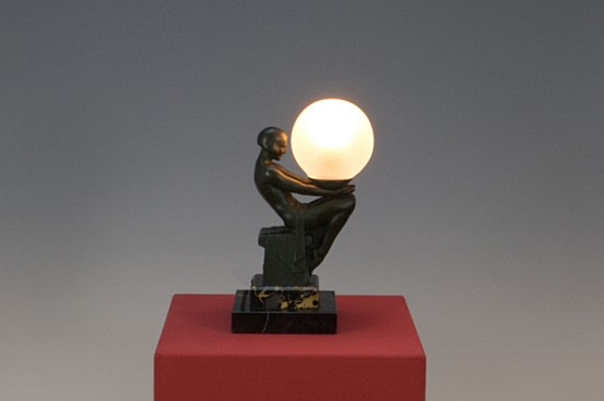 ☑️ max le verrier Delassement art deco figure lamp original spelter