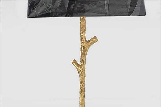 ☑️ 20th Century Decorative Arts |gilt bronze table lamp in the form of a slim textured tree trunk designed by Les Heritiers for Fondica c2004
