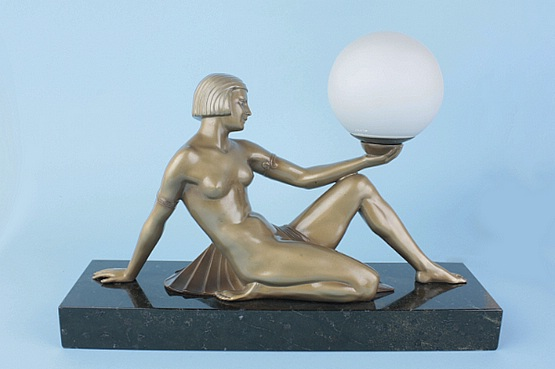 ☑️art deco spelter lady table lamp for sale