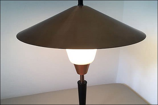 ☑️ 20th Century Decorative Arts |A copper, black painted wood and white glass table / desk lamp c1955 - 1965 possibly by Fog & Morup