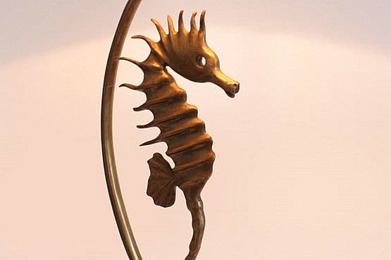 ☑️ 20th Century Decorative Arts |french 1950s seahorse bronze lamp