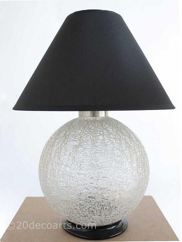 20th Century Decorative Arts |A stylish Art Deco crackle glass and nickel-plated bronze table lamp, Charles Schneider France 1920s,